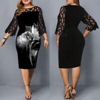 US Plus Size Women's Printed Mini Dress Ladies Evening Party Cocktail Dresses