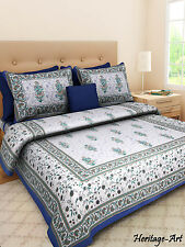 Rajasthani Latest Hand Block Print Blue Cotton Bed Sheet Two Pillow Covers Se