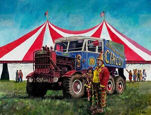 Scammell Explorer 10 Ton Tractor Stands Outside Circus Ring  Metal Sign
