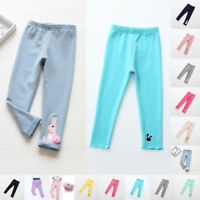 Girls Kids Winter Warm Thick Fleece Leggings Lined Stretch Cotton Trousers Pants