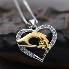 925 Sterling Silver Plated Mom Pendant Necklace Women's Wedding Party Gift P002