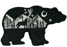Bear Wolf National Park Patch Iron / Sew-On Embroidered Souvenir Travel 4.5 in