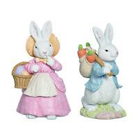 Set/2 Pastel Country Easter Bunny Eggs Spring Figurine Retro Vntg Decor Transpac