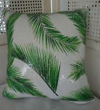 Green Palm Leaves Tropical Reversible Sequins Cushion Cover OZ SELLER
