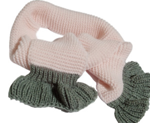 Hand made winter girls scarf/ baby pink & gray colour/ new /130 cm / warm neck