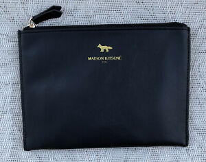 Japan Airlines JAL Maison Kitsune Business Class Amenity Kit Bag Black Leather