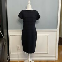 Escada Black Sheath Dress Short Sleeves Textured Size 40