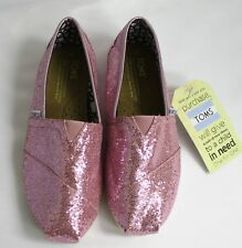 Toms Classic Canvas Slip Ons Authentic Womens Pink Glitter Classics 7 New