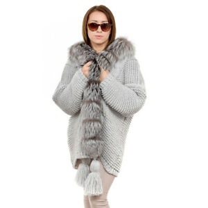 Grey Sweater Trimmed with Silver Fox Fur Oversized Cardigan with Fur Collar FOX