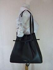 NWT FURLA Black Pebbled Leather LARGE Costanza Bucket Drawstring Tote Bag $448