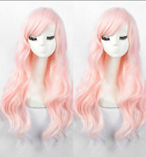 New Fashion Long Pink Straight Wavy Women's Lady's Cosplay Hair Wig Wigs + Cap