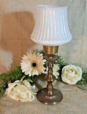 "14"" vtg Large Brass Chapman Candle Stick Holder Hurricane antique milk glass"