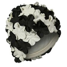 Ladies Vintage Style Swimming Hat Black & White Flower Petal Pretty Retro