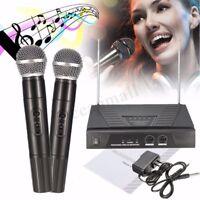 Dual Handheld VHF Kabellos Radio Mikrofon Lautsprecher Mic System DJ Karaoke KTV