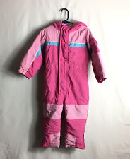 """""""LL BEAN""""Toddler Girls Size 2T Cold Buster Snowsuit Pink And Blue Zip Up Snap"""
