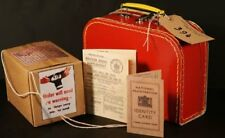 Wartime-1940's Small Suitcase-Ration Book-Gas mask Box-ID card-Luggage Label Set