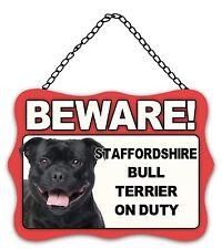 Dog Sign Plaque Beware Staffordshire Bull Terrier Metal 20 x 27cm