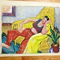 Elise Donaldson Art Deco Modernist WPA Era Pensive Woman Gouache 1920s Colorful!