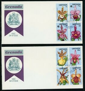 Grenada Scott #1800-1807 FIRST DAY COVERS (2) Orchids EXPO '90 FLORA $$