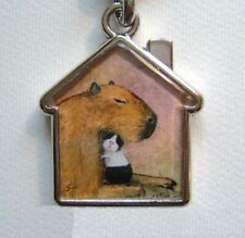 Guinea pig Capybara keyring key chain handbag charm painting by Suzanne Le Good