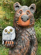 BEAR holding OWL Chainsaw Carving BEAR CUB Wood Carvings Black Walnut Wood OOAK