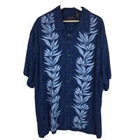 Ocean Pacific Button Up Hawaiian Shirt Mens Sz 2XL XXL Blue Floral BB10