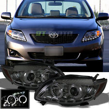 Smoked 2009-2010 Toyota Corolla Halo Projector Headlights w/Daytime DRL LED sets