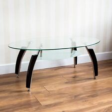 Elena Coffee Table Oval Clear Black Legs Glass Shelf Modern New By Home Discount