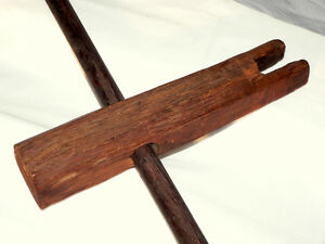 "Rope Tightener for rope bed, rare, oak, T-handle, 12"", early 1800"