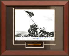 Iwo Jima Flag Raising Framed Photo Signed by Mahlon Fink M1 Garand Bullet Coa