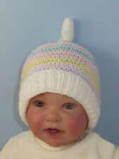 PRINTED KNITTING INSTRUCTIONS -BABY CANDY STRIPE TOPKNOT BEANIE KNITTING PATTERN