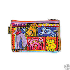 Laurel Burch Bright Papillion Dogs Doggies Gold Canvas Cosmetic Zipper Case New