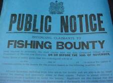 Fishing Bounty Sign Broadside Poster 1923 Maritime Canada Nova Scotia Advertisin
