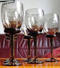 Turmalin-Glas Rauchglas 6 Weingläser 50/60er Midcentury Jahre Handschliff