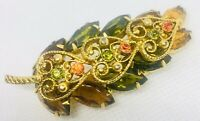 Juliana Delizza & Elster Rhinestone Brooch Fall Colors Overlay Vintage Jewelry