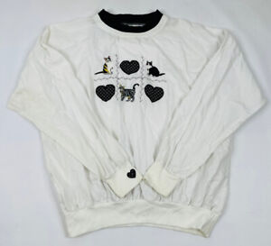 Vintage 90s Womens XL Kitty Cat Lady Double Collar Lightweight Sweatshirt Top