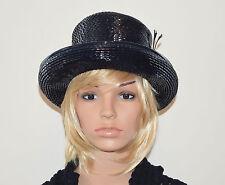 Vintage 60's Mod Shiny Cellophane Black Ladies Top Hat - Usa