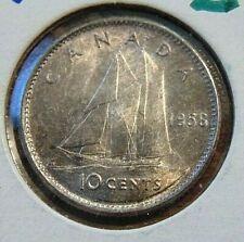 CANADA 1956 . DOT ten 10 cents silver dime coin BLUENOSE II