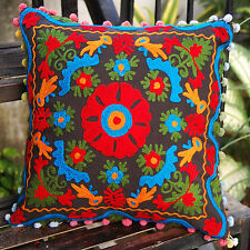 """Indian Suzani Cushion Covers Cotton Pillow Cases 16x16"""" Handmade Embroidered"""