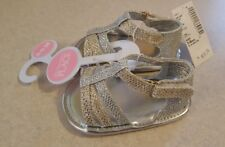 NWT Childrens Place Infant Girls 3-6 MONTHS Crib Shoe Sandals SILVER GOLD #28618