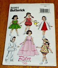 Butterick: Pattern #6001 Retro '56 Doll Clothes 18 Inch Doll - New