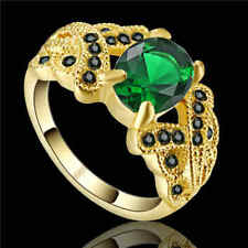 Size 7 Vintage oval Cut Emerald Ring yellow Rhodium Plated Jewelry