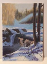 Original Small Acrylic Winter Snow Landscape Realism Artist LL Lawton 2000-Now
