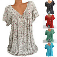 V Floral Tops Blouse Sleeve Plus Short Neck Womens Tee Size Loose Tunic T-shirts