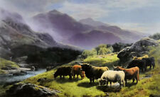 Art Oil painting highland cattle grazing by a mountain stream & nice landscape