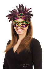 Mix Colour Carnival Mask With Feathers Maquerade Ball Mardi Gras Fancy Dress