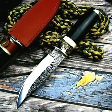 Collectible Fixed Blade Handmade Hunting Knife Forged Steel Hammered Blade Sheat