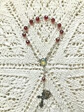 DIVINE MERCY AUTO ROSARY, Red Beads & Divine Mercy Center, Nice Claw Clasp! NEW