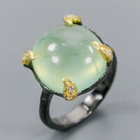Handmade11ct+ Natural Prehnite 925 Sterling Silver Ring Size 9/R120680