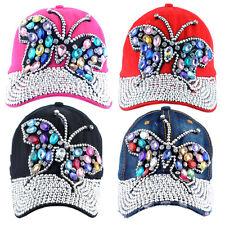 Womens Rhinestone Crystal Stud Baseball Cap Bling Big Butterfly Adjustable Hats